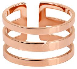 Stylový trojitý prsten z růžově pozlacené oceli