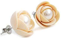 Svetlo béžové náušnice puzetky kvetinky s perlou Preciosa