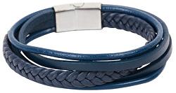 Tmavo modrý náramok z kožených pásikov Leather