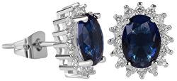 Třpytivé náušnice s modrými krystaly