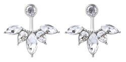 Třpytivé ocelové náušnice s krystaly 2v1