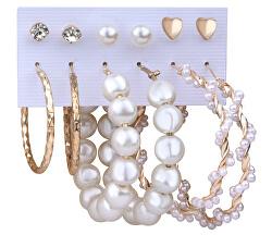 Úžasná sada pozlacených kruhových náušnic a pecek s perlami (6 párů)