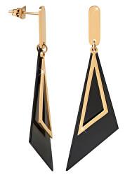 Výrazné černozlaté trojúhelníkové náušnice