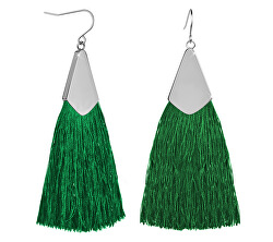 Zelené náušnice střapce s ocelovým háčkem