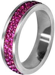 Ocelový prsten s krystaly RSSW02-FUCHSIA