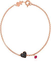 Rosévergoldetes Armband mit Herz und Rubin 314931510-M