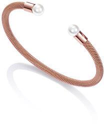 Bronzový otevřený náramek s perlami Chic 75047P01017