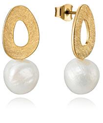Elegantní pozlacené náušnice s perlou Fashion 15048E01012