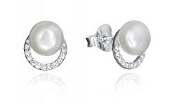 Něžné stříbrné náušnice se zirkony a perlou Clasica 71051E000-68