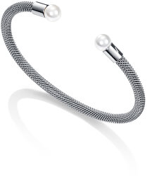 Otevřený ocelový náramek s perlami Chic 75047P01010