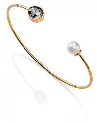 Offenes vergoldetes Armband mit Zirkon und Perle 3198P19012
