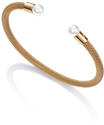Pozlacený otevřený náramek s perlami Chic 75047P01012