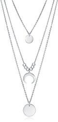 Stylový ocelový náhrdelník s přívěsky Popular 75198C01000