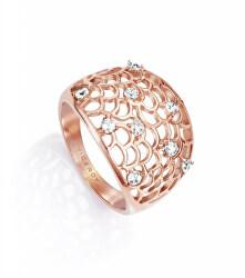 Csillogó acél gyűrű cirkónium kövekkel 75040A01212