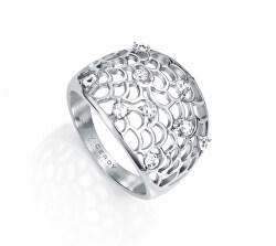 Csillogó acél gyűrű cirkónium kövekkel  Chic 75040A0