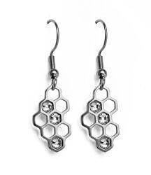 Designové ocelové náušnice Bee Silver