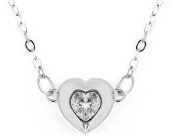 Krásny strieborný náhrdelník s kryštálom Hearty Love
