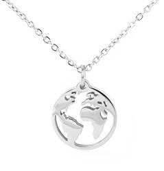 Moderné cestovateľský náhrdelník Mapa sveta Globe Gladys