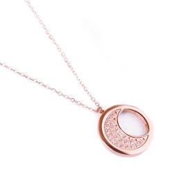 Módne bronzový náhrdelník Rose gold moon