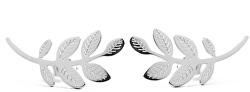 Pozdĺžne oceľové náušnice Leaves Silver