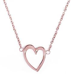 Romantický bronzový náhrdelník Srdce Wish Gold