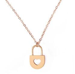 Romantický oceľový náhrdelník Heart Key Gold