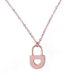 Romantický bronzový náhrdelník Key Rose zlaté