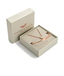 Bronzová souprava ocelových šperků s krystaly VS1094R (náramek, náhrdelník)