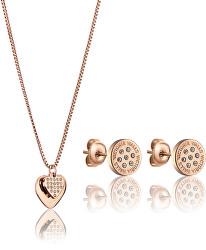 Elegantná bronzová sada šperkov s kryštálmi VS1117R (náušnice, náhrdelník)