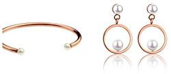 Elegantná bronzová súprava šperkov s perličkami VS1075R (náramok, náušnice)