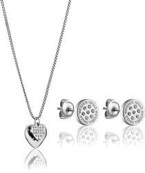 Elegantní ocelová sada šperků s krystaly VS1117S (náušnice, náhrdelník)