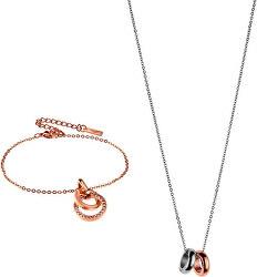 Luxusní bicolor sada náramku a náhrdelníku VS1070R