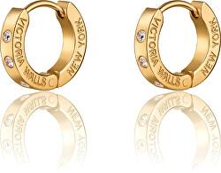 Cercei rotunzi placați cu aur și cristale VE1112G
