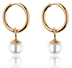 Pozlátené kruhové náušnice s perličkami VE1104G