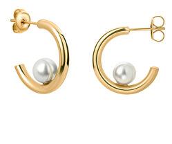 Cercei rotunzi placați cu aur cu perla VE1101G