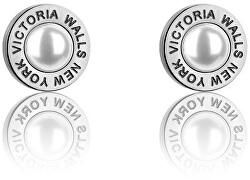 Půvabné ocelové náušnice pecky s perlami VE1093S