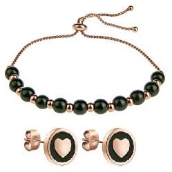 Pôvabný bronzový set šperkov VS1115R (náramok, náušnice)