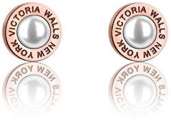 Růžově pozlacené náušnice pecky s perličkami VE1093R