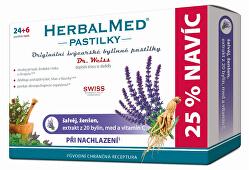 HerbalMed pastilky Dr. Weiss pri kašli 24 pastiliek + 6 pastiliek ZADARMO