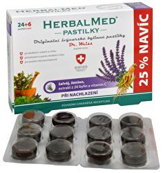 HerbalMed pastilky Dr. Weiss pri prechladnutí 24 pastiliek + 6 pastiliek ZADARMO