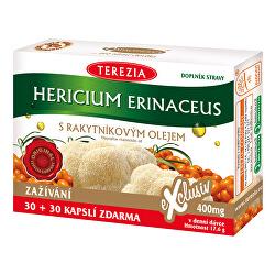 Hericium erinaceus so 100% rakytníkovým olejom 30 kapsúl + 30 kapsúl ZADARMO