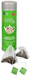 Zelený čaj s granátovým jablkem - plechovka s 15 bioodbouratelnými pyramidkami
