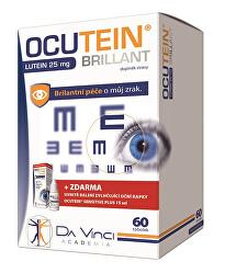 Ocutein Brillant Luteín 25 mg 60 tob + Ocutein ® Sensitive zvlhčujúce očné kvapky 15 ml ZADARMO