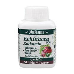 Echinacea 600 Forte + kurkumín + vitamín C + baza čierna + zinok 60 tbl. + 7 tbl. ZD ARMA