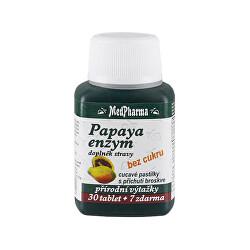 Papaya enzym – cucavé pastilky bez cukru s příchutí broskve 30 tbl. + 7 tbl. ZDARMA
