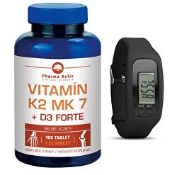 Vitamín K2 MK7 + D3 Forte 100 tbl. + 25 tbl. ZADARMO + Fitness náramok s krokomerom