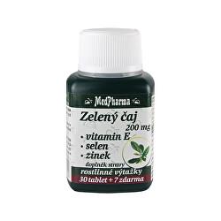 Zelený čaj 200 mg + vitamín E + selen + zinek 30 tbl. + 7 tbl. ZDARMA