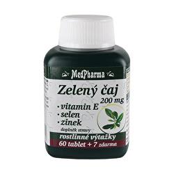 Zelený čaj 200 mg + vitamín E + selen + zinek 60 tbl. + 7 tbl. ZDARMA