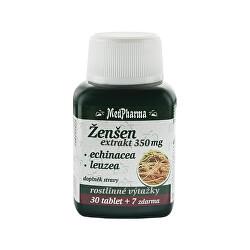 Ženšen 350 mg + echinacea + leuzea 30 tbl. + 7 tbl. ZDARMA
