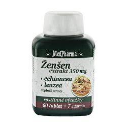 Ženšen 350 mg + echinacea + leuzea 60 tbl. + 7 tbl. ZDARMA